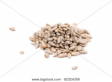 Bunch of pelled sunflower seeds.
