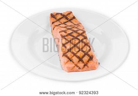 Grilled salmon fish.