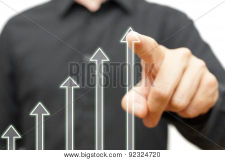 Man Is Touching Growing Arrows, Concept Of .optimism