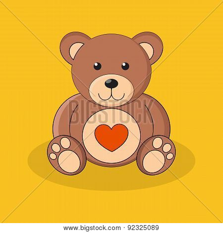 Cute Brown Teddy Bear With Red Heart On Yellow Background.