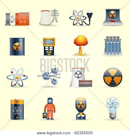 Nuclear energy icons yellow background