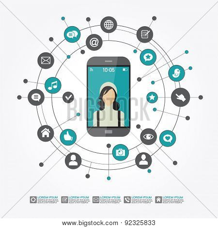Smartphone surrounded by abstract computer network with integrated circles and icons for digital,  network, internet, connect, social media, communicate.  Infographic design background. AI10 EPS
