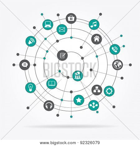 Abstract computer network with integrated circles and icons for digital,  network, internet, connect, social media, communicate. File is saved in AI10 EPS version.