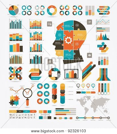 Set of graphs, charts and diagrams. Puzzles in the shape of a human head. World Map and Information Graphics. Detail infographic vector illustration. File is saved in AI10 EPS version.
