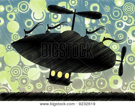 Sketchy fantasy airship lifts offs accented by colorful blue yellow circle background