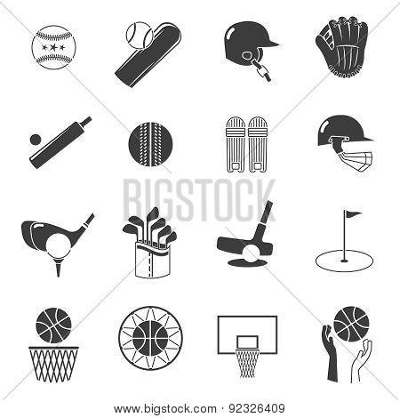 Sport Icons Black Set
