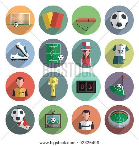Soccer icons set flat