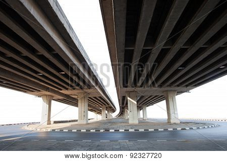Construction Of Concrete Bridge Isolated White Background Use For Infra Structure Of  Cement Ramb Br