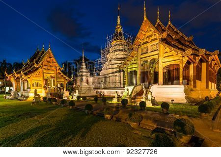 Wat Phra Singh Temple In Chiang Mai, Thailand.