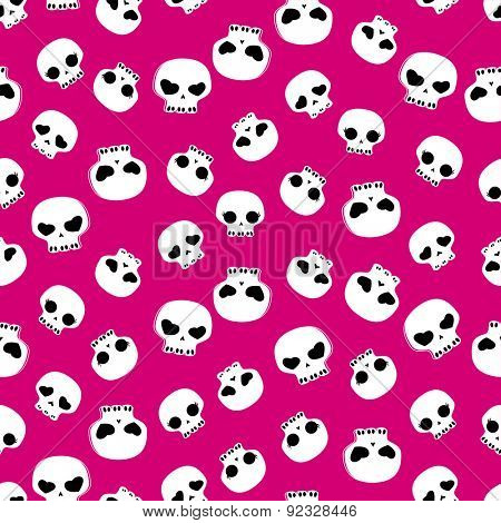 white skulls on pink background, seamless pattern