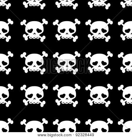 skulls on crossbones, black and white seamless pattern