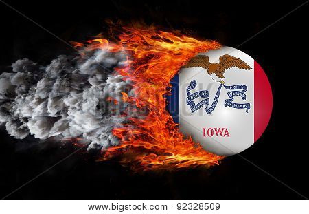Flag With A Trail Of Fire And Smoke - Iowa
