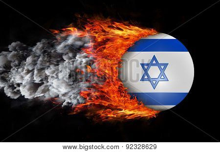 Flag With A Trail Of Fire And Smoke - Israel