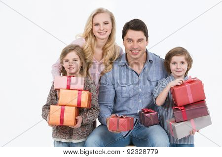 Happy Family Gives Gifts