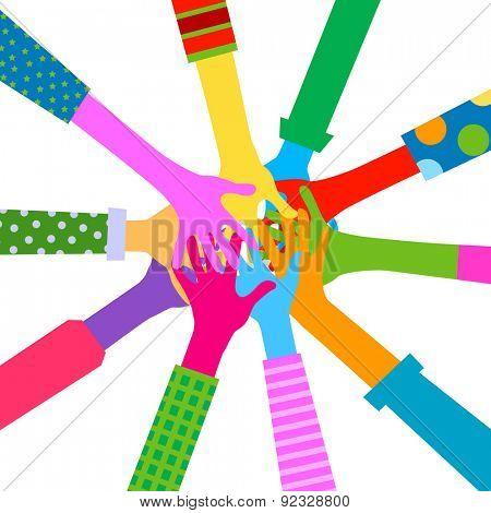 diverse hands, togetherness concept