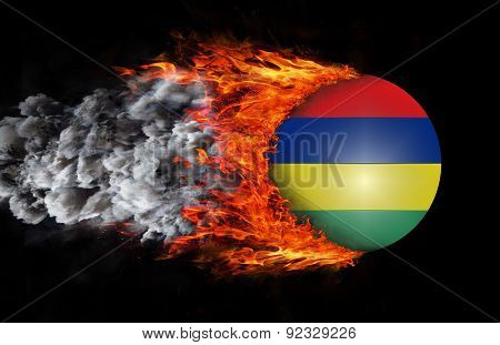 Flag With A Trail Of Fire And Smoke - Mauritius