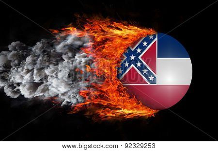 Flag With A Trail Of Fire And Smoke - Mississippi