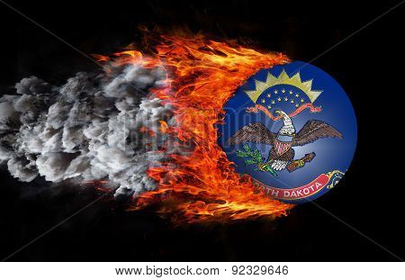 Flag With A Trail Of Fire And Smoke - North Dakota