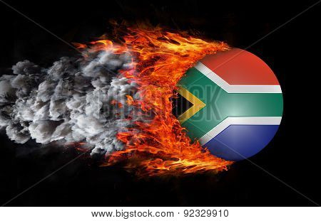 Flag With A Trail Of Fire And Smoke - South Africa