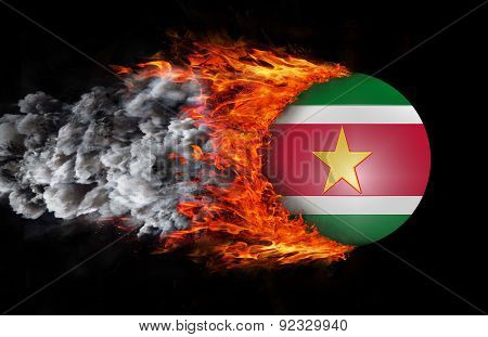 Flag With A Trail Of Fire And Smoke - Suriname