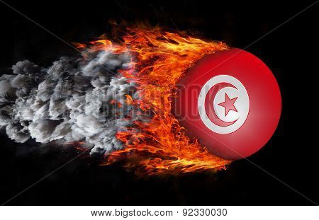 Flag With A Trail Of Fire And Smoke - Tunisia