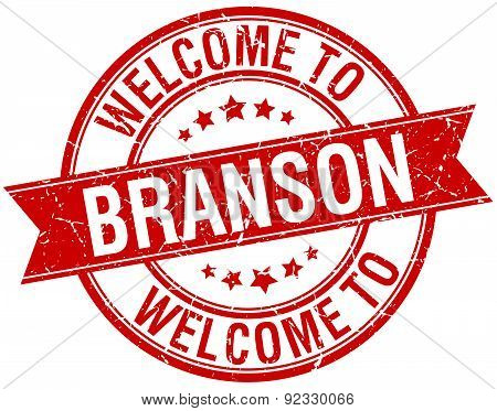Welcome To Branson Red Round Ribbon Stamp