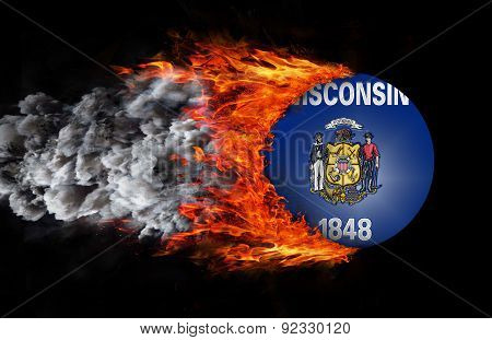 Flag With A Trail Of Fire And Smoke - Wisconsin