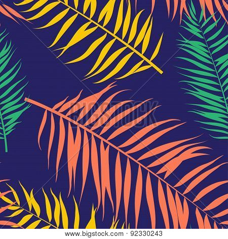 Seamless color palm leaves pattern. Flat style