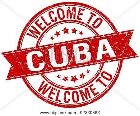 Welcome To Cuba Red Round Ribbon Stamp