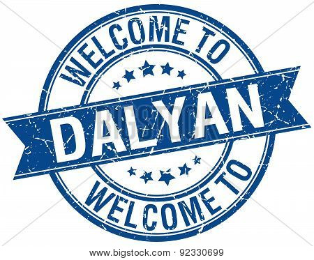 Welcome To Dalyan Blue Round Ribbon Stamp