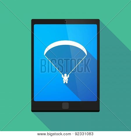 Tablet Pc Icon With A Paraglider