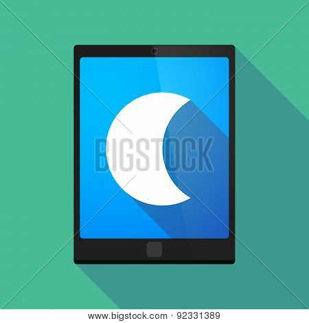 Tablet Pc Icon With A Moon