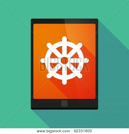 Tablet Pc Icon With A Dharma Chakra Sign