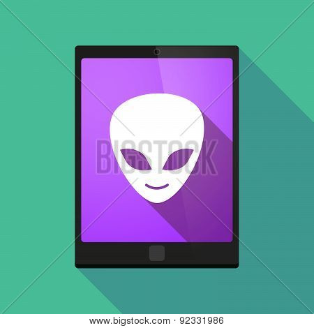 Tablet Pc Icon With An Alien Face