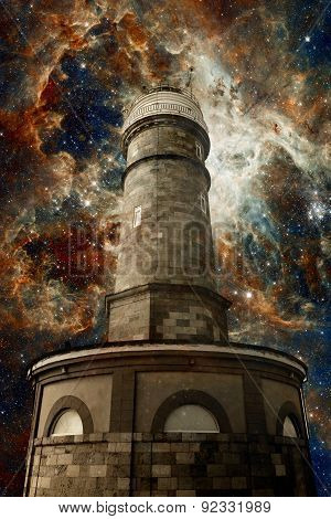Lighthouse And The Tarantula Nebula Background (elements Of This Image Furnished By Nasa)