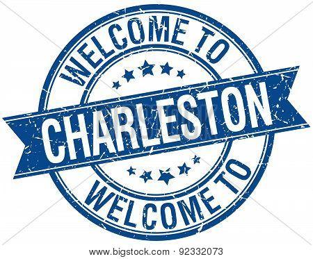 Welcome To Charleston Blue Round Ribbon Stamp