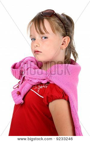 Proud small girl looking at camera isolated on white