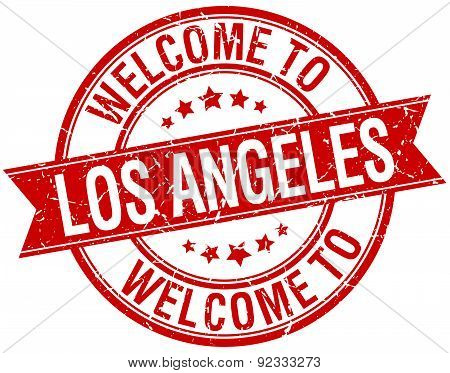 Welcome To Los Angeles Red Round Ribbon Stamp