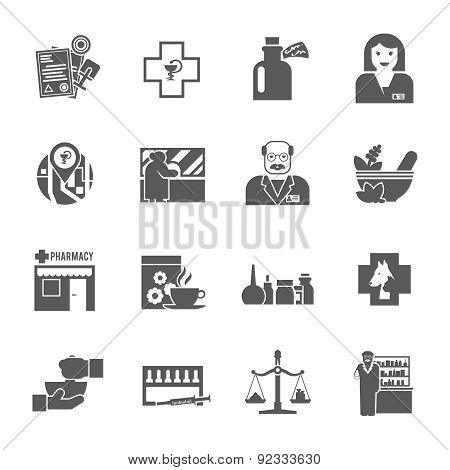 Pharmacicst black icons set