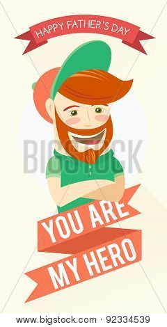 Hipster funny bearded man. Greeting card for father's day