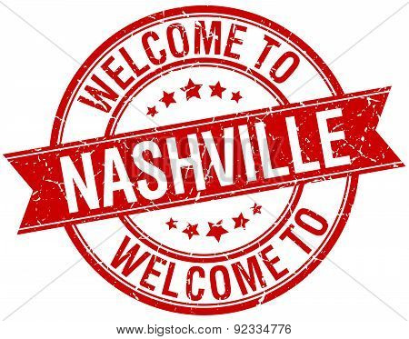 Welcome To Nashville Red Round Ribbon Stamp