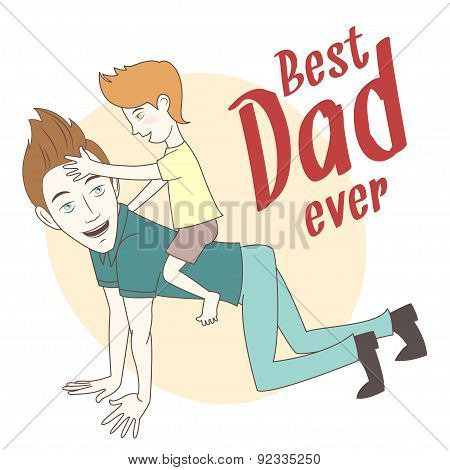 Son riding on his father's back. Hand drawn style greeting card