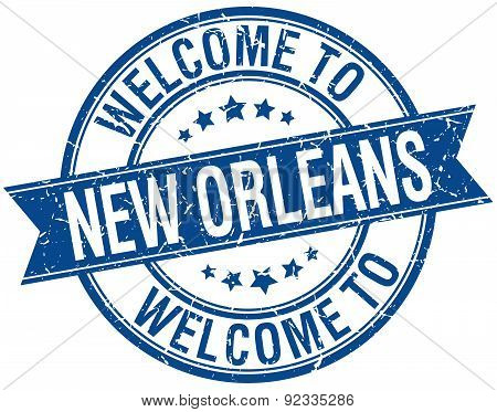 Welcome To New Orleans Blue Round Ribbon Stamp