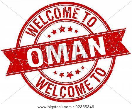 Welcome To Oman Red Round Ribbon Stamp