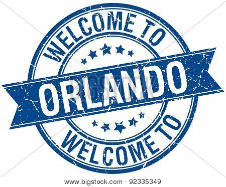 Welcome To Orlando Blue Round Ribbon Stamp