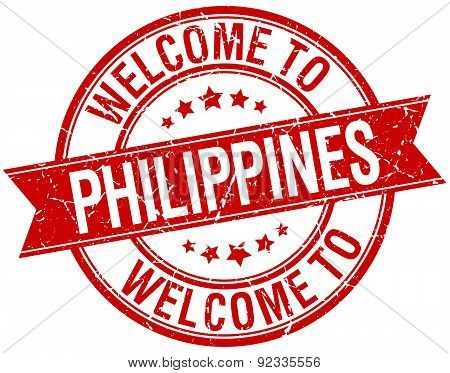 Welcome To Philippines Red Round Ribbon Stamp