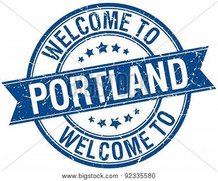 Welcome To Portland Blue Round Ribbon Stamp