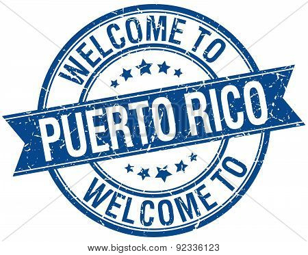 Welcome To Puerto Rico Blue Round Ribbon Stamp