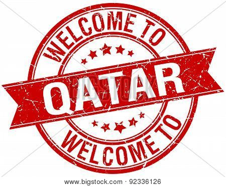 Welcome To Qatar Red Round Ribbon Stamp