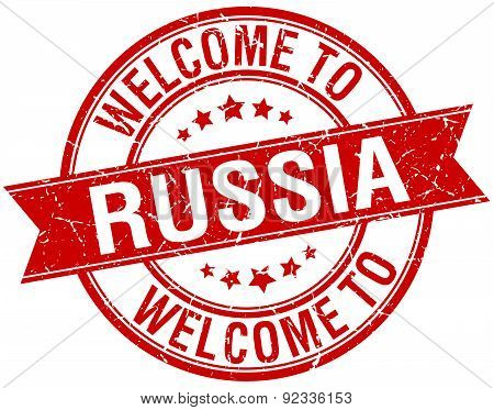 Welcome To Russia Red Round Ribbon Stamp